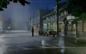 night, city, car, rain, sad, road