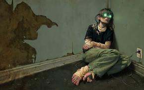 dystopian, cyberpunk, sad, virtual reality