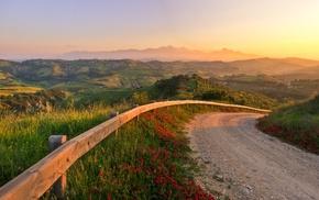 солнечный свет, холм, дорога, природа, пейзаж
