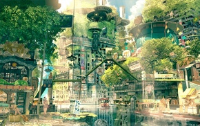 city, anime, cityscape, nature, fictional, Japan