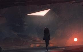 космический корабль, цифровое искусство, космос, солнце, футуризм