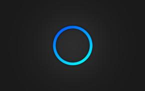 синий, минимализм, круг, цифровое искусство