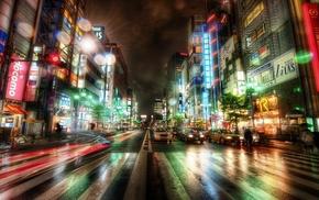 traffic, rain, wet, Tokyo, neon, long exposure