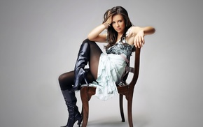 Evangeline Lilly, dress, brown eyes, chair, stockings, brunette