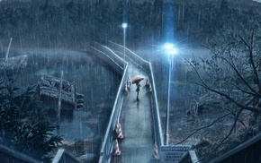 heavy rain, anime, rain, night