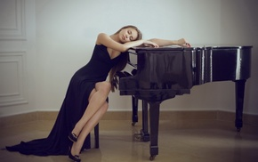 room, closed eyes, sitting, piano, model, girl