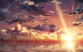 девушки из аниме, Kirigaya Kazuto, Юки Асуна, закат, аниме