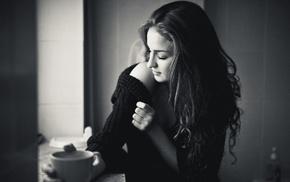 long hair, girl, cleavage, coffee, sweater, brunette