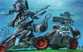 concept art, fantasy art, artwork, robot
