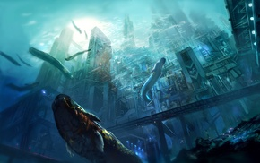 futuristic, city, sea, underwater, artwork, concept art