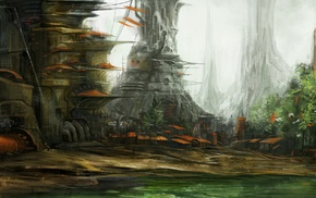 swamp, concept art, space, spaceship, fantasy art, artwork
