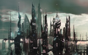 artwork, concept art, futuristic, city
