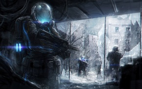 soldier, artwork, futuristic, concept art