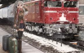железнодорожная станция, девушки из аниме, аниме, поезд