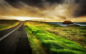 rocks, road, stone, water, sea