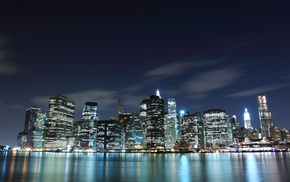 ocean, skyscrapers, America, USA, lights