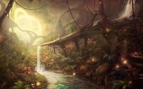 water, moon, jungles, concept art, fantasy art, lights