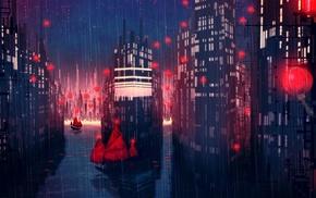 city, artwork, fantasy art, boat, rain, concept art