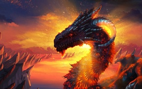 concept art, artwork, fantasy art, dragon, sunlight, magic