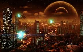 digital art, city, artwork, futuristic, spaceship, night