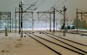 train station, snow, train