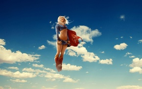 Supergirl, clouds, superheroines, sky