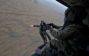 helicopter, machine gun, gun, soldier