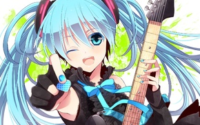 guitar, Vocaloid, anime girls, Hatsune Miku, blue hair, anime