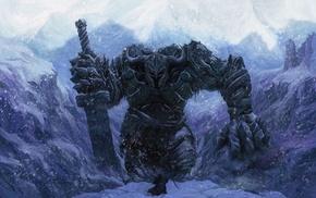 фэнтези, великан, воин, меч, Зима, человек