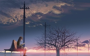 bench, trees, anime, power lines, bag, 5 Centimeters Per Second
