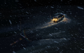anime, lights, winter, 5 Centimeters Per Second, snow, train