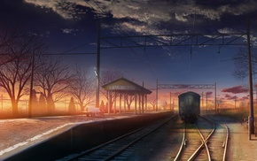 train station, anime, sunset, railway