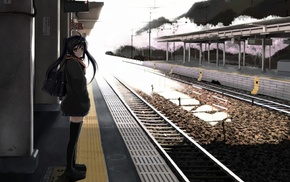 schoolgirls, train station, waiting, anime, anime girls, original characters