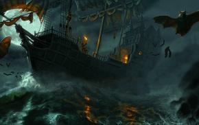 шторм, Корабль, вампиры, ночь, море, мыши