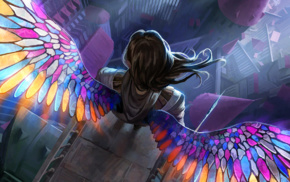 fantasy art, Magic The Gathering, stained glass, wings, digital art, angel
