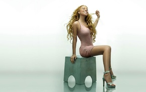 curly hair, dress, blonde, Mariah Carey, sitting, high heels
