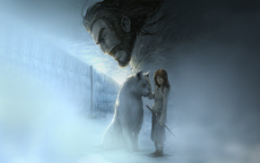 the wall, Arya Stark, direwolves, Game of Thrones