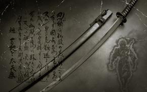 kanji, digital art, anime, Japanese, katana, sword