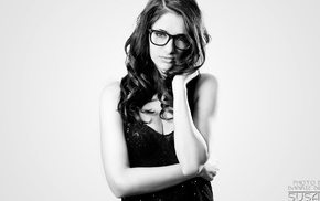 monochrome, glasses, Susan Coffey, wavy hair