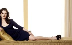 brown eyes, dress, lying down, brunette, legs, Anne Hathaway
