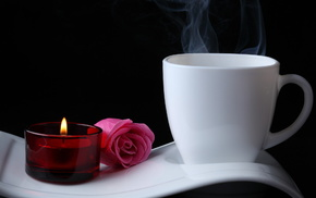 flowers, coffee, candle