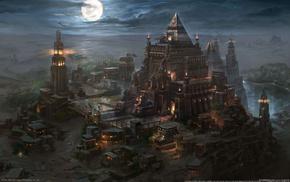 moon, night, lighthouse, city, video games