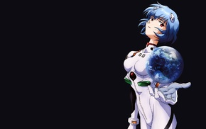 Neon Genesis Evangelion, blue, simple background, anime, Ayanami Rei