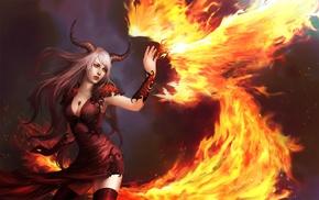 magic, grey hair, fire, horns, girl, demoness