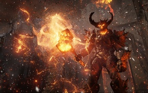 snow, fantasy weapons, Unreal Engine 4, fire, hill, demon