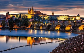 building, Prague, water, cityscape, arch