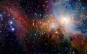 Horsehead Nebula, nebula, stars, lights, neon, space