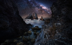 morning, landscape, nebula, night, evening, rock