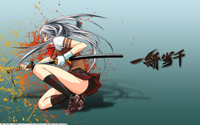 katana, girl, sword, anime, skirt