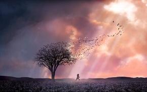 пейзаж, произведение искусства, природа, облака, деревья